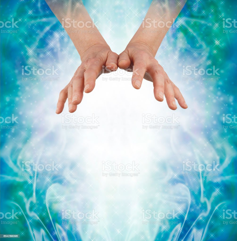 Sending out loving Chi Ki Qi Prana Energy stock photo