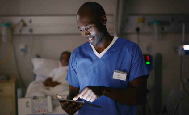 Sending some updated notes to the doctor stock photo