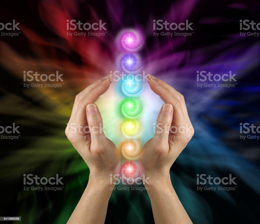 Sending the Seven Chakras Vortex Healing Energy stock photo