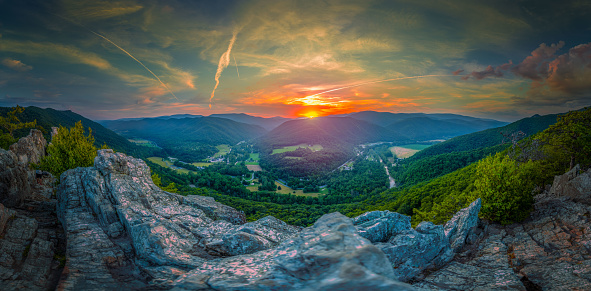 The view from the top of Seneca Rocks on a beautiful summer day. Seneca Rock, located in the Monongahela National Recreational Area in West Virginia.