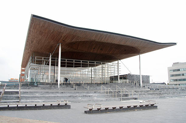 Senedd, the Welsh Assembly Building in Cardiff stock photo