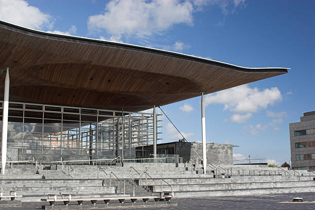 Senedd - Welsh National Assembly Building Welsh national assembly and debating hall in cardiff bay with blue sky welsh culture stock pictures, royalty-free photos & images