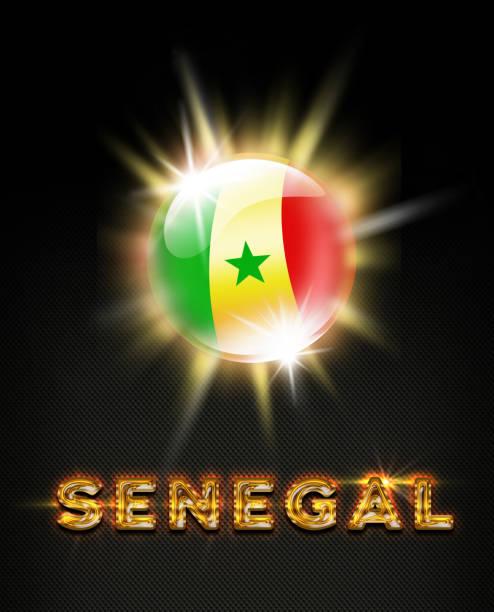Botão explodindo de Senegal com bandeira senegalês e nome em preto - foto de acervo