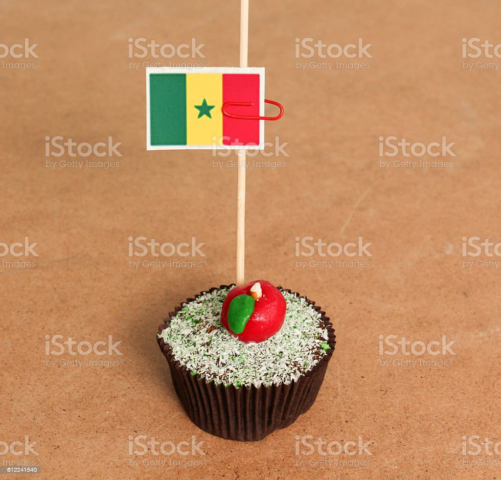 senegal flag on a apple cupcake stock photo