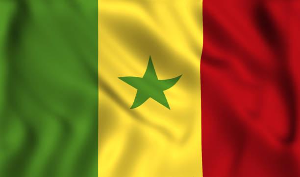 Bandeira do Senegal acenando símbolo seda - foto de acervo