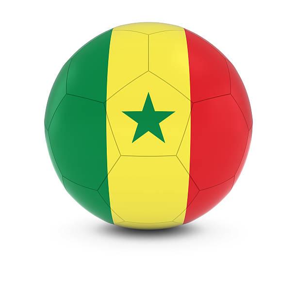Senegal futebol-senegalês Bandeira na bola de futebol - foto de acervo