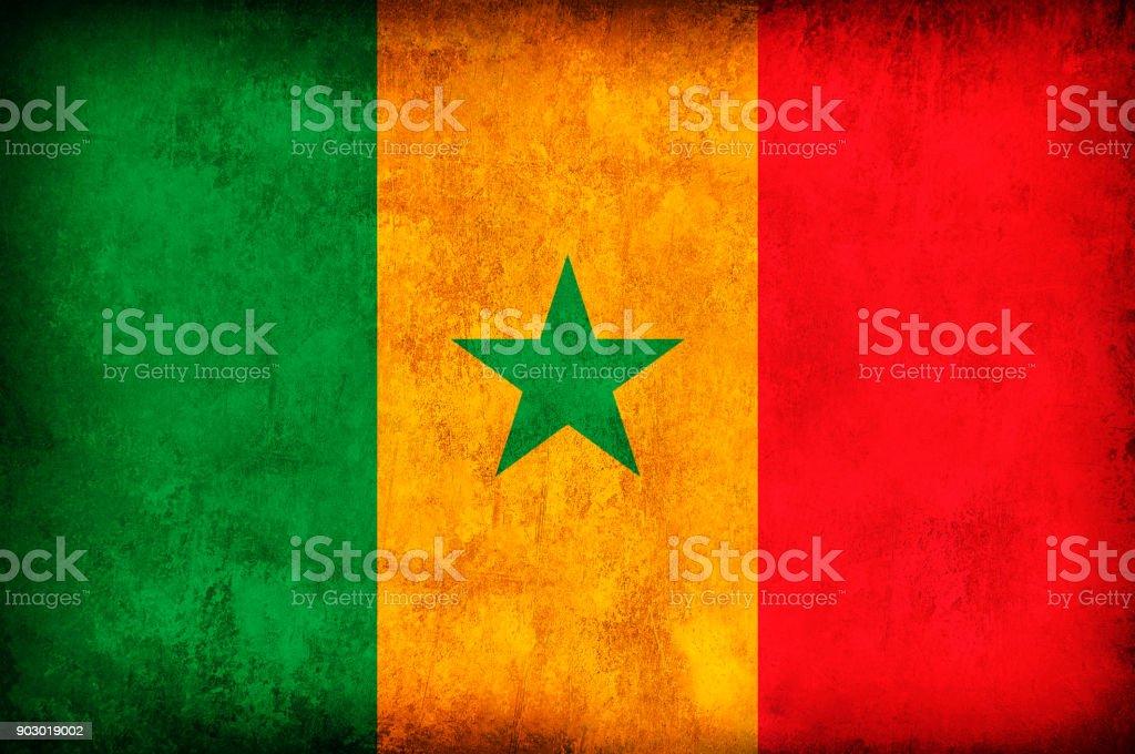Senegal Grunge Flag stock photo