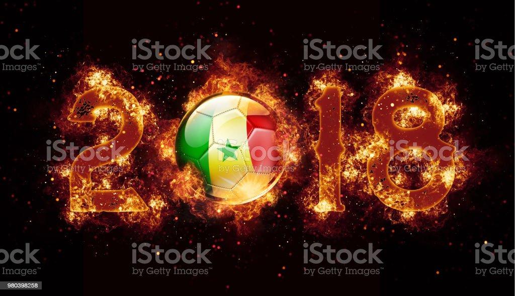 Bola de futebol do Senegal voando com chamas e fogo ano 2018 - foto de acervo