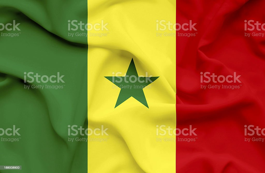 Senegal waving flag stock photo