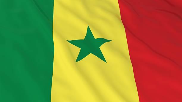 Senegalese Flag HD Background - Flag of Senegal 3D Illustration - foto de acervo