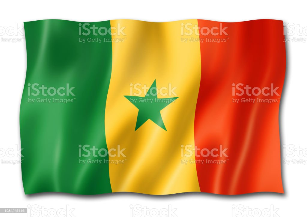 Senegalês bandeira isolada no branco - foto de acervo