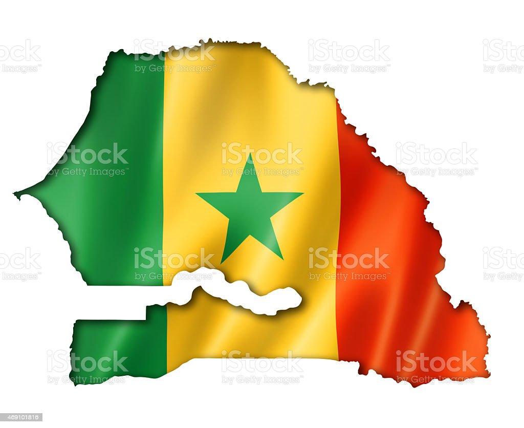 Bandeira do Senegal em um mapa - foto de acervo
