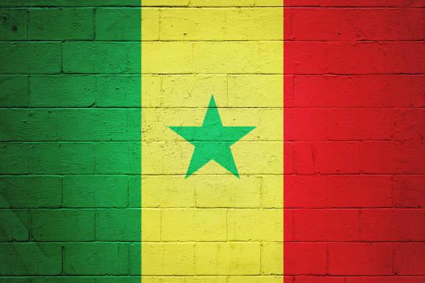 Senegalês bandeira pintada na parede - foto de acervo