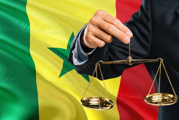 O juiz de Senegalese está prendendo escalas douradas de justiça com fundo de ondulação da bandeira de Senegal. Tema da igualdade e conceito legal. - foto de acervo