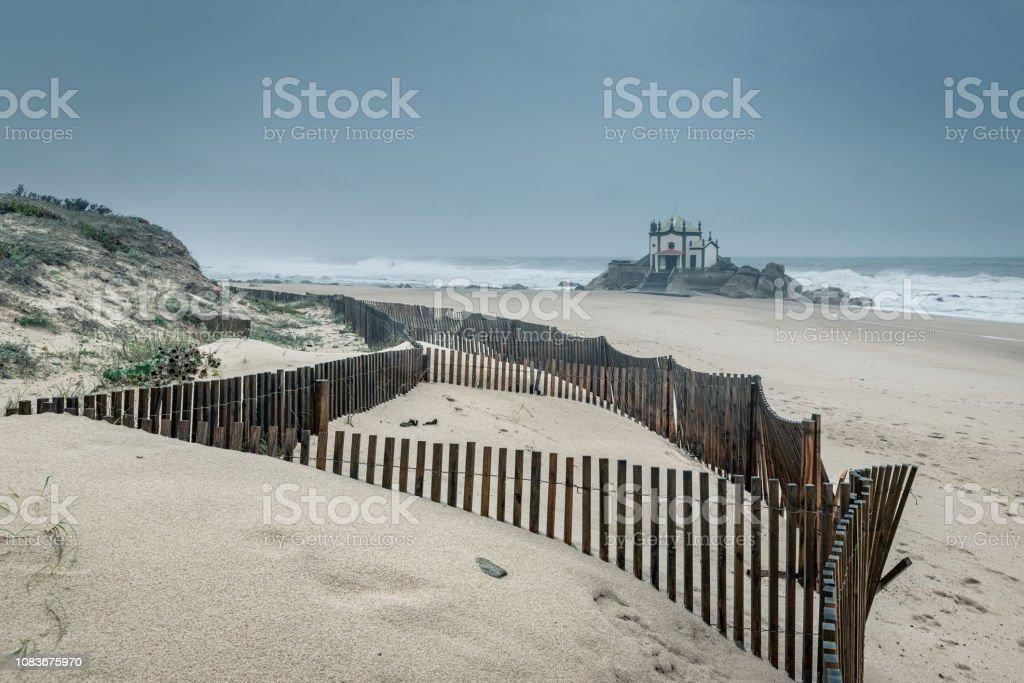 senhor da pedra beach, Chapel of Senhor da Pedra stock photo