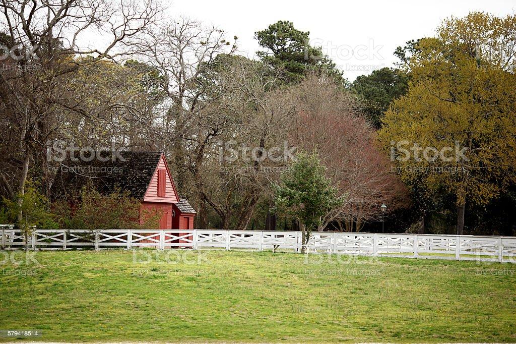 Senic Barn in a Field stock photo