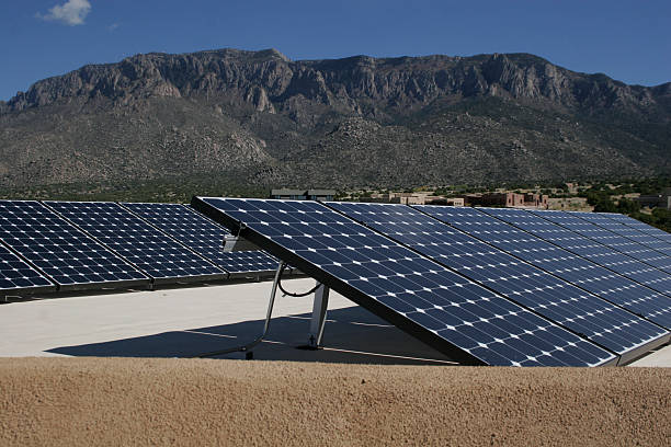 Senic view of solar panels in a mountain area stock photo