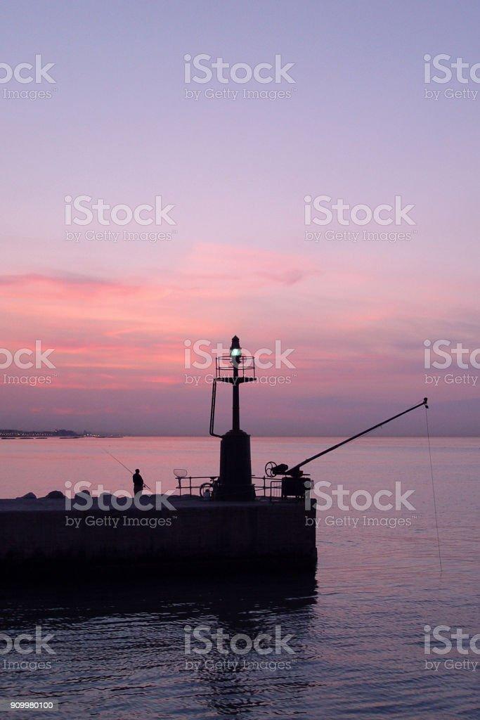 Senigallia - Italy - old west lighthouse stock photo