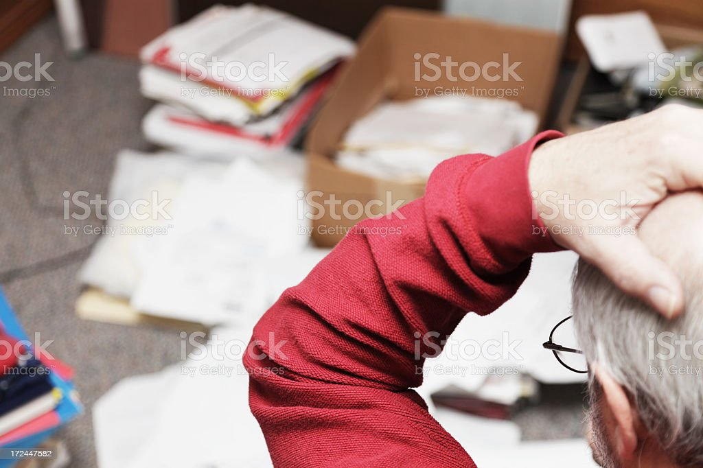 Senior Adult ADD Man Frustrated By Messy Room royalty-free stock photo