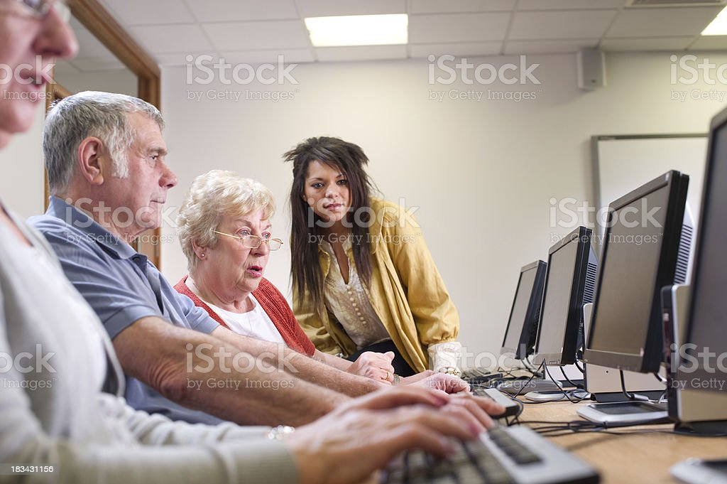 senior adult Computer class stock photo