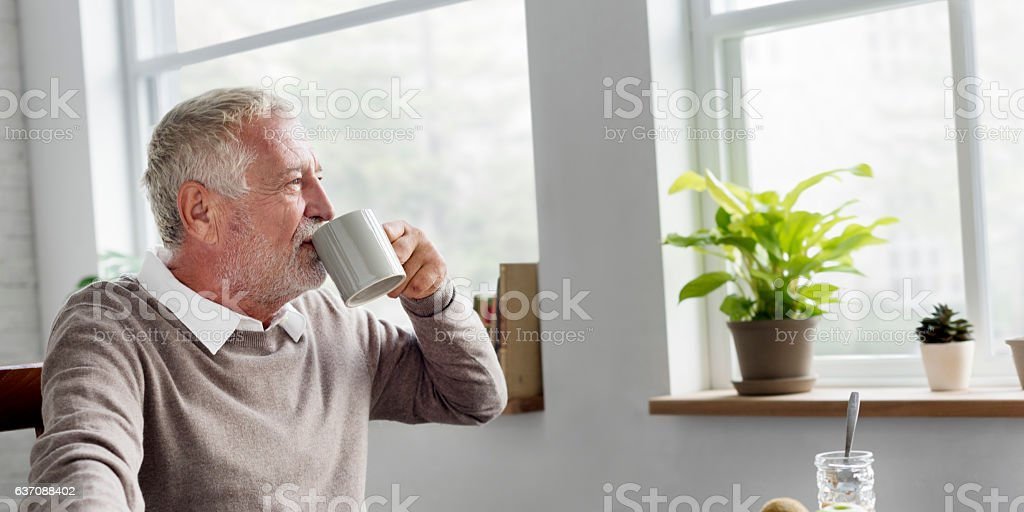 Senior Adult Drinking Water Mug Concept royalty-free stock photo