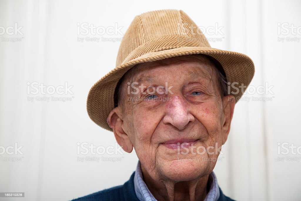 Senior adult male portrait; he is 90 years old stock photo