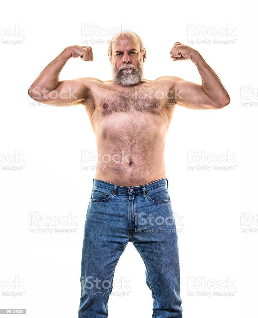 Senior Adult Man Flexing Arm And Upper Body Muscles Stock Photo