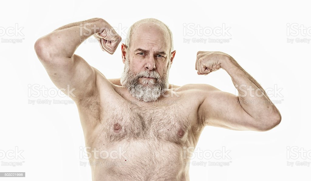 Senior Adult Man Flexing Shoulder And Arm Muscles Stock Photo More