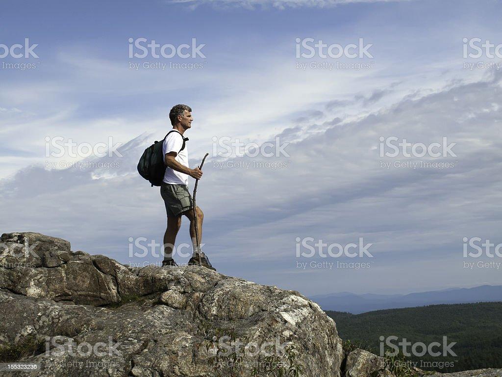 Senior Adult Mountain Top stock photo