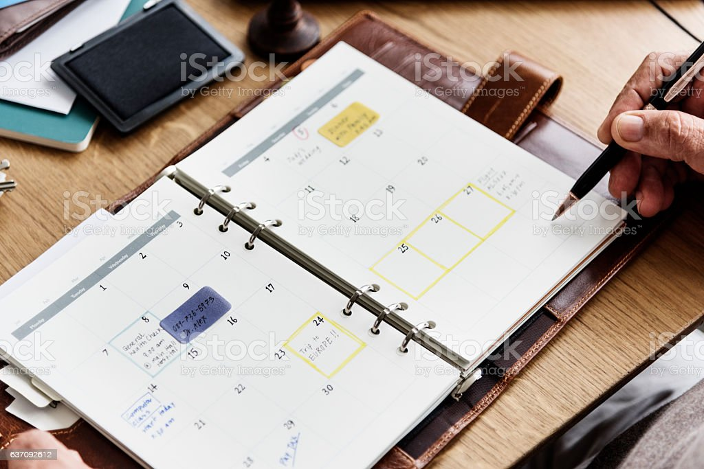 Senior Adult Planning Agenda Calendar Concept stock photo