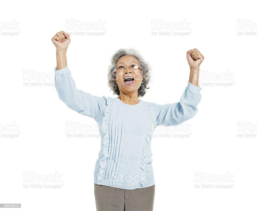 Senior Adult Woman Celebrating stock photo
