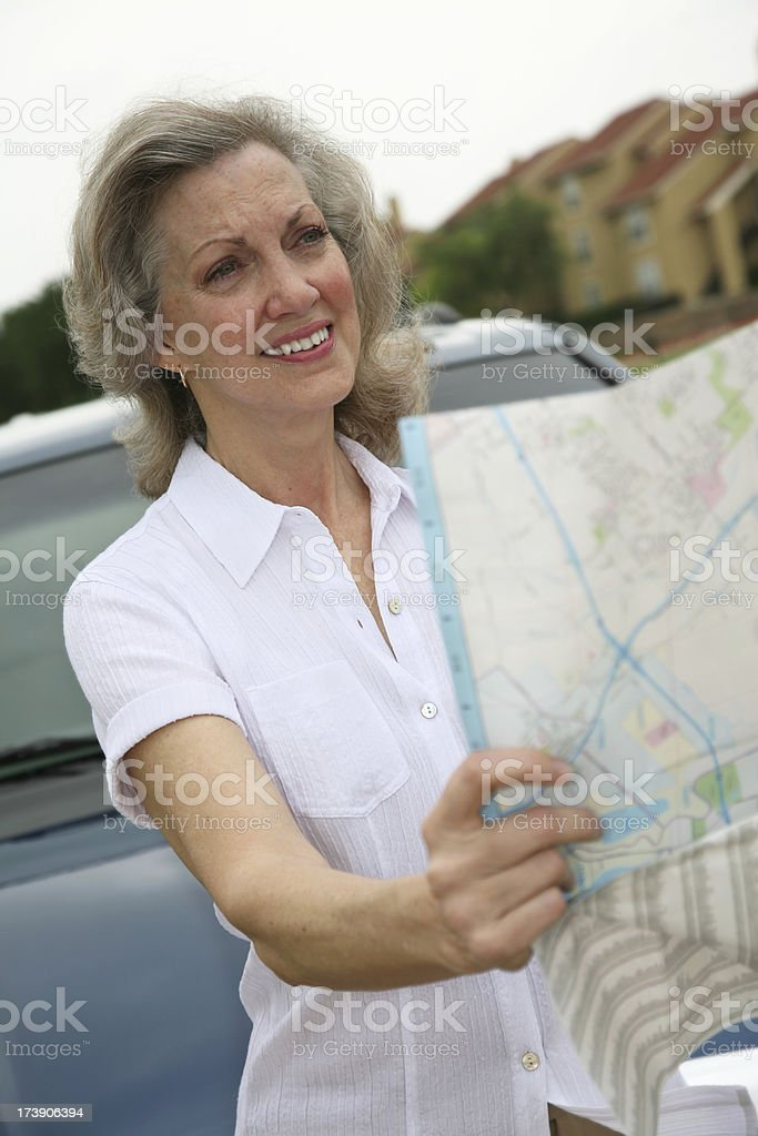 Senior Adult Woman Having Problems with Directions royalty-free stock photo