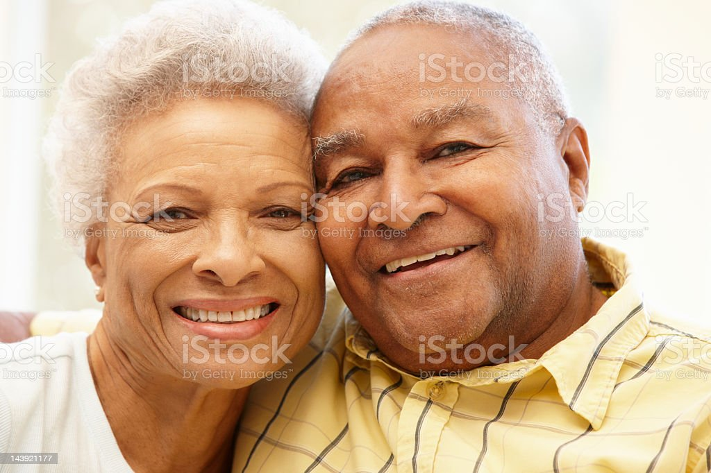 Senior African American couple at home royalty-free stock photo