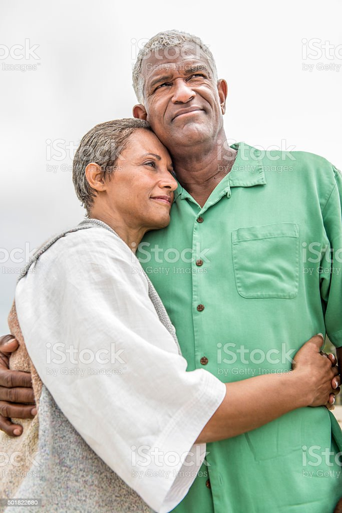 Senior African American Couple Sharing Romantic Moment stock photo