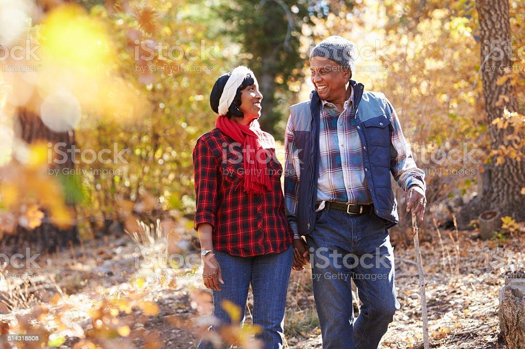 Africano-americanos sênior casal andando em uma floresta de outono nos EUA - foto de acervo