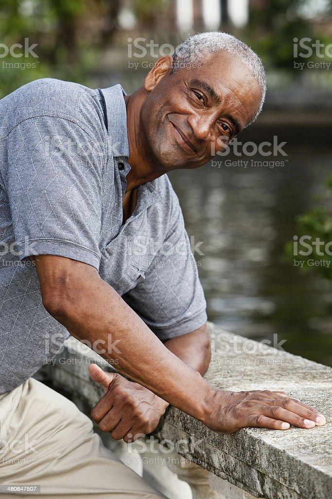 Senior African American man at waterfront stock photo