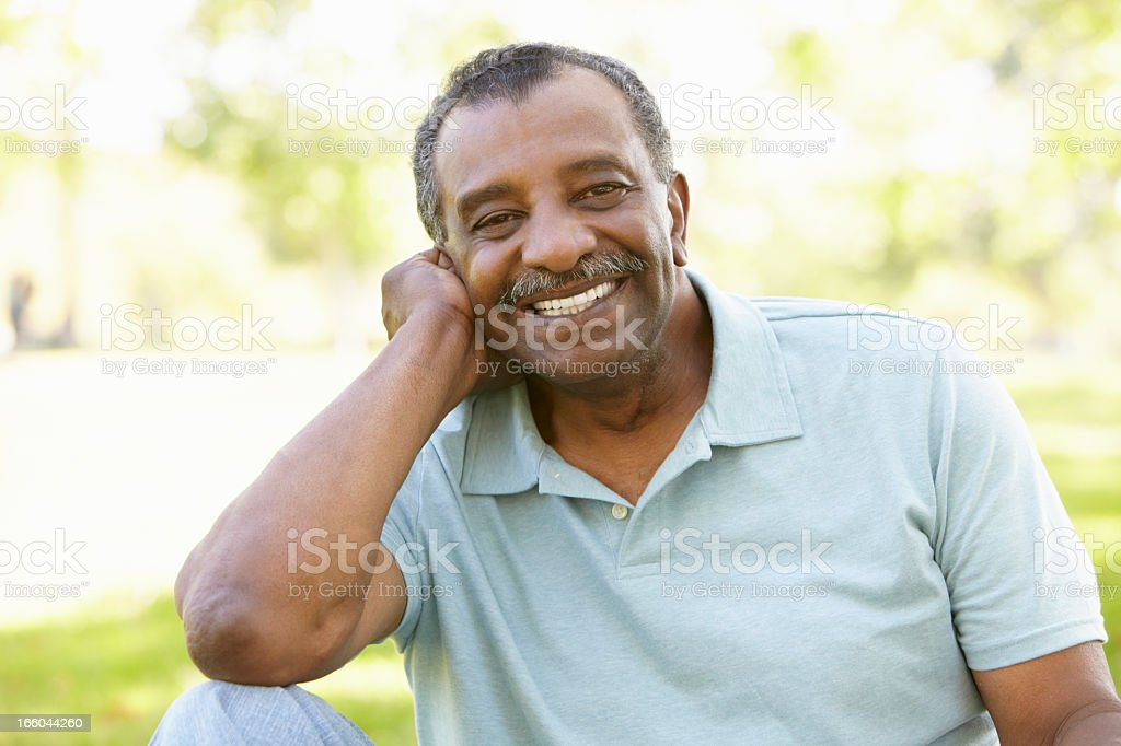 Senior African American Man In Park royalty-free stock photo