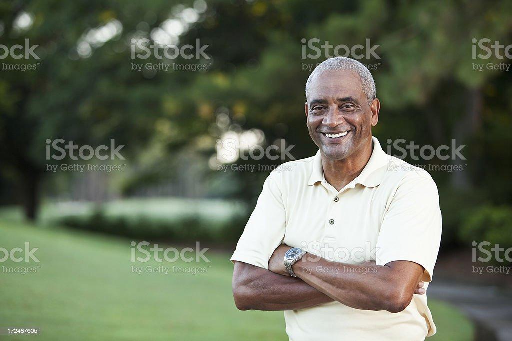 Senior African American man outdoors stock photo