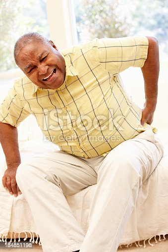 821012164istockphoto Senior African American man with backache 184851198