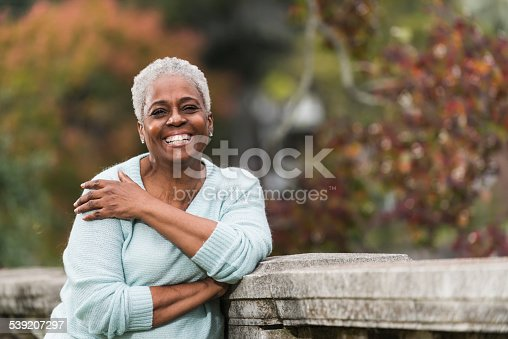 istock Senior African American woman at the park 539207297