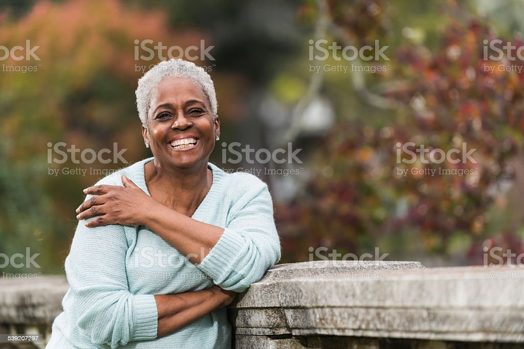 Senior African American woman at the park stock photo