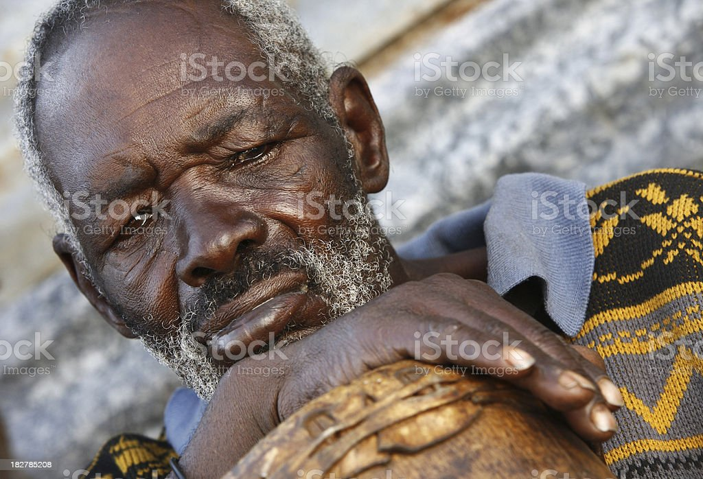 Senior African man with a drum stock photo