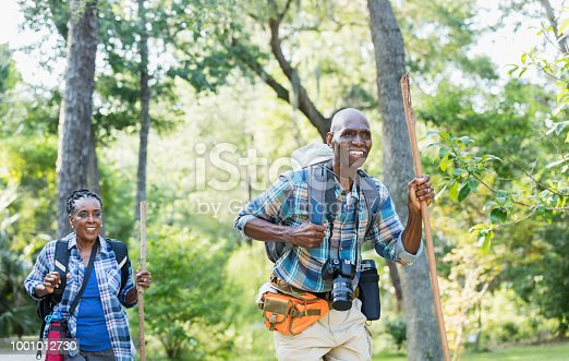 istock Senior African-American couple hiking, exploring 1001012730
