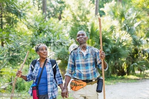istock Senior African-American couple hiking, exploring 1001013314