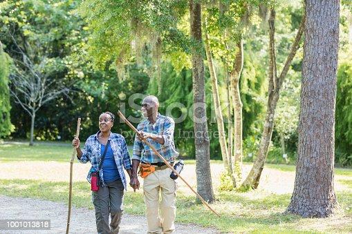 istock Senior African-American couple hiking, exploring 1001013818