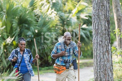 istock Senior African-American couple hiking, exploring 1023568952