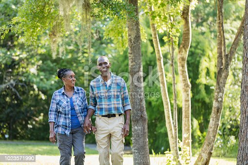istock Senior African-American couple hiking, exploring 1023571990