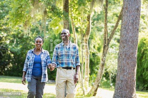 istock Senior African-American couple hiking, exploring 1023572114