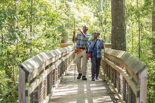 Senior African-American couple hiking, on footbridge