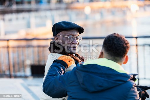istock Senior African-American man sitting with great grandson 1036321892